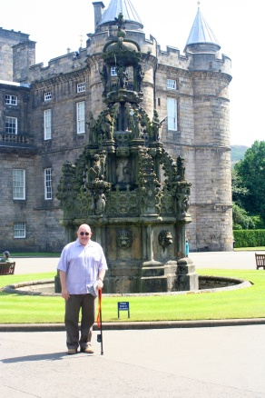 In the forecourt of Holyrood Palace.