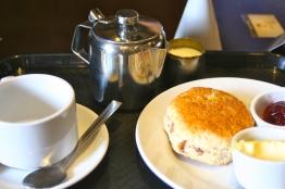 Cream tea, with a scone, jam, and clotted cream.