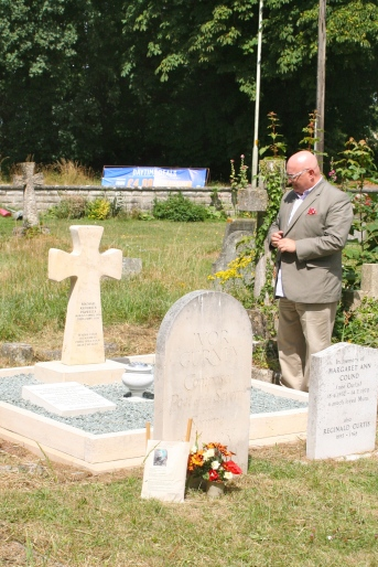 At Michael's grave in July 2013, Twigworth Church, Gloucestershire.