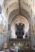 Exeter Cathedral nave and organ.