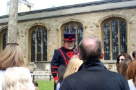 A Beefeater outside of the Chapel of St. Peter ad Vincula.