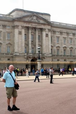 Outside of Buckingham Palace.