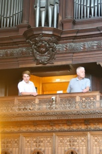 Peter and Michael in the organ loft.