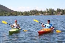 Kurt and Jordan in full kayak pose.