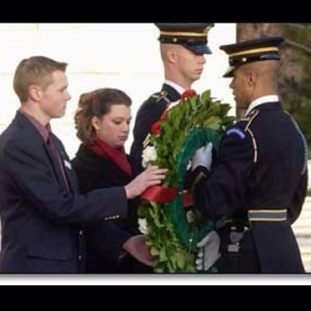 Brian and Molly place a wreath at the Tomb of the Unknowns.