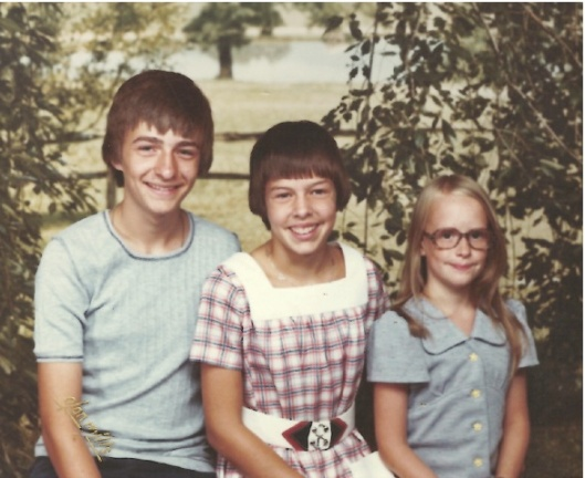With my sisters, probably in 1976.