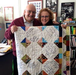 With Leigh Anne upon presentation of the quilt on Monday.