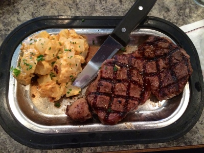 Ribeye and au gratin potatoes at Misty's Steakhouse in Lincoln.