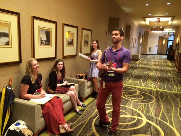 Michael serenaded in the hotel hallway on Friday.