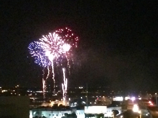 Fireworks nearby the hotel on Friday evening.