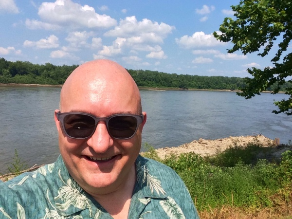 Saturday selfie on the banks of the Missouri River.