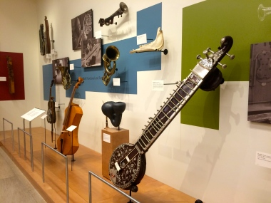 Entry to the exhibits. Notice the violin with a bell attached, as a tool to help with early recording technology.
