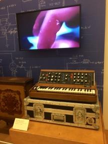 An original Moog synthesizer.
