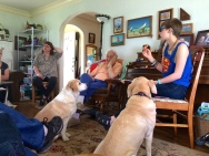 Anna has food, and the dogs know it.