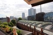 Apartment balcony view. Thursday morning.
