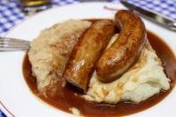 Bangers and mash German-style, plus sauerkraut (yuck).
