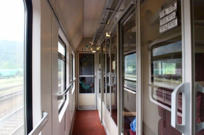 Train carriage corridor in our first-class cabin.