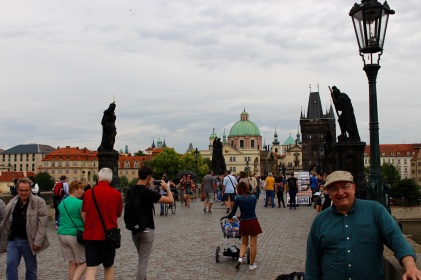 On the Charles Bridge in Prague.