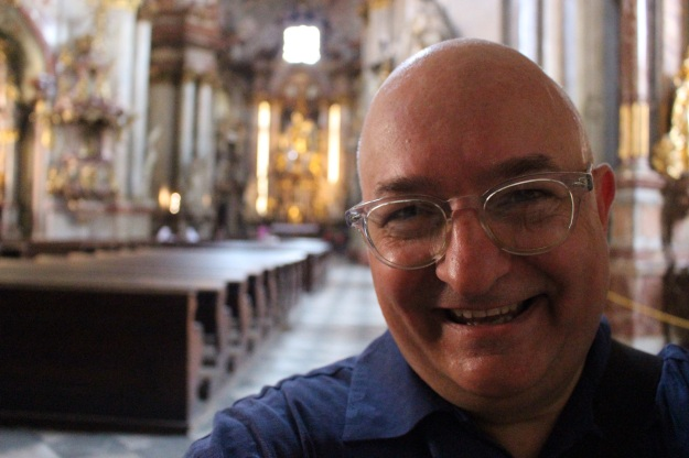 At the Church of Saint Nicholas, Mala Strana, Prague. 17 July 2015