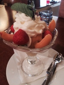 Dessert. There's mango ice cream under there somewhere.