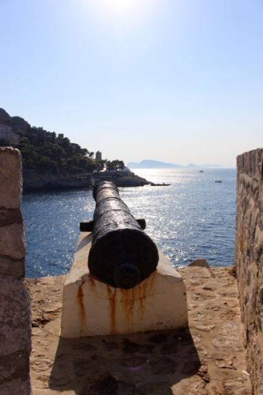 From the battlements by the port.