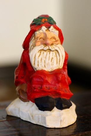 I don't recall who gave me this, but I love this rustic Santa.