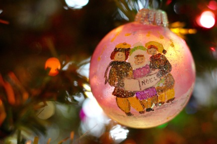 Aunt Esther painted this ornament in the early 1980s. It's been with me through a dozen moves, and is one of my favorites.