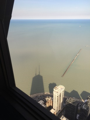 Hancock shadow on Lake Michigan.