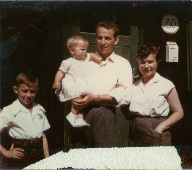 Mutti with her husband Alois, and her two children, in the mid 1950s.