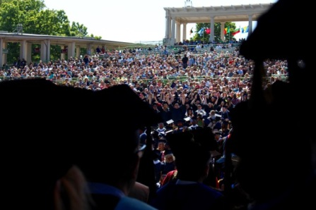 Fine arts grads, as viewed from the stage.
