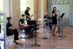 A student jazz combo entertains.