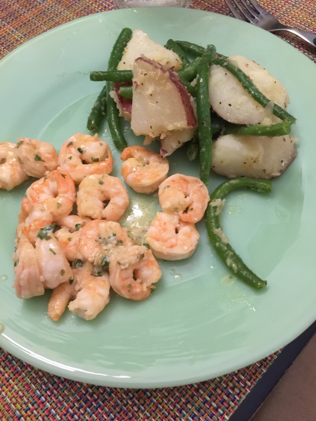 Saturday dinner of garlic butter shrimp and green beans with potatoes.