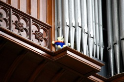 Notice the stuffed animal in the organ pipes.
