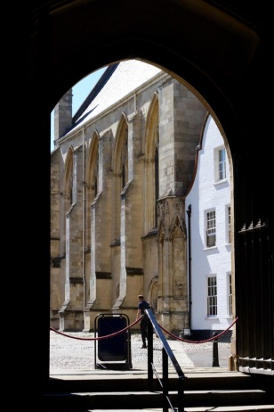 Through west door to Cathedral Close.