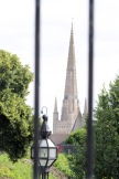 The cathedral spire is notable everywhere in town.