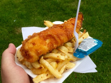 Fish & chips from a market stall.