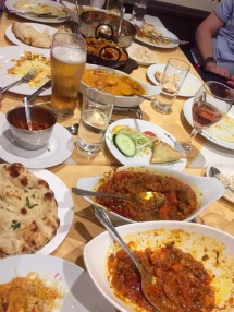 The remains of a sumptuous Indian feast at dinner. We took the leftovers to homeless on the Cathedral green.