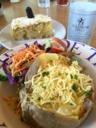 Jacket potato with cheese at lunch, with salad. And some gooseberry and elderflower cake.