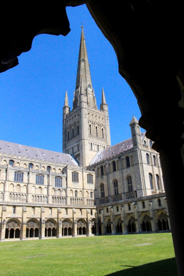 Norwich Cathedral from the west cloister aisle.