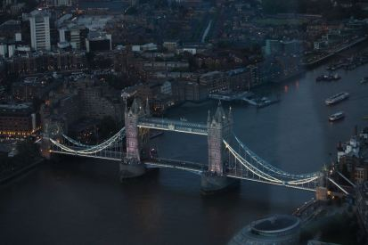 Tower Bridge at dusk.