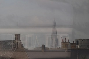 The Shard, through the train window.
