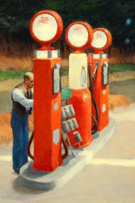 Edward Hopper, 1940. Detail of Gas.