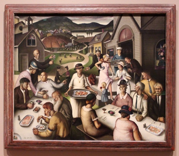 Paul Sample, 1933. Church Supper. I love the sly glances at the lady in pink.