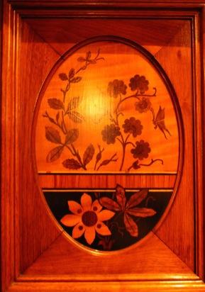 Inlaid wood.
