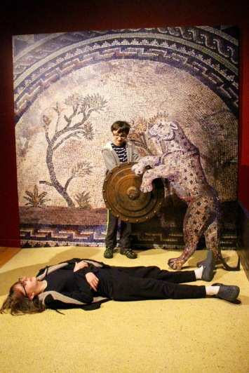 At the Pompeii exhibit. Joe is a gladiator; Luke a victim.