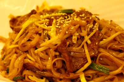 Noodles with beef.
