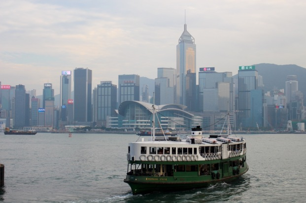 A ferry heading to Hong Kong Island. Minutes later, we were on a similar one.