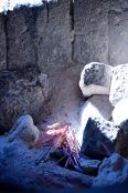 An incense cauldron ready to light.