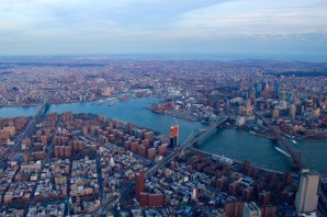East River and three iconic bridges.