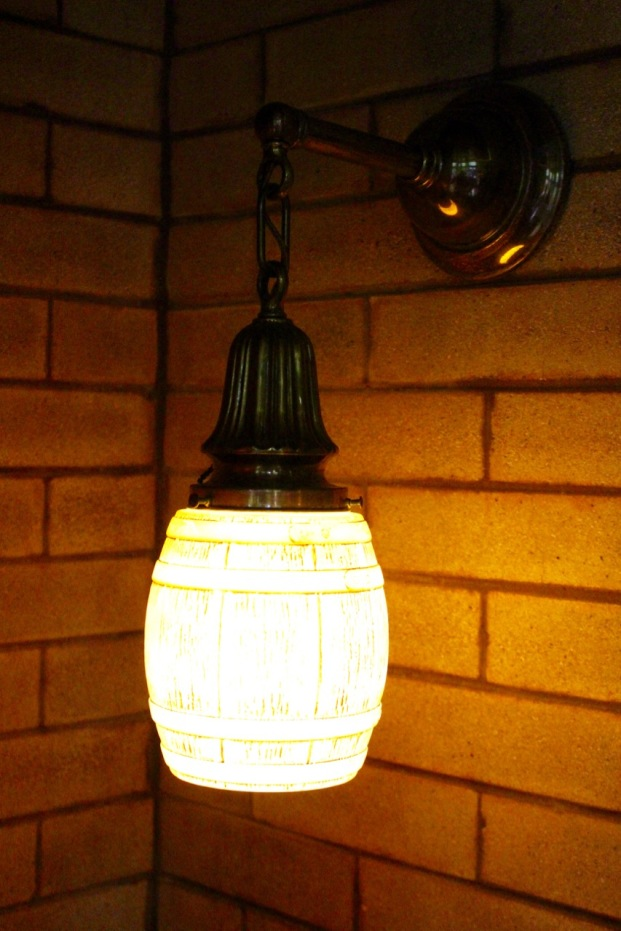 The globe on this light is a beer barrel design.